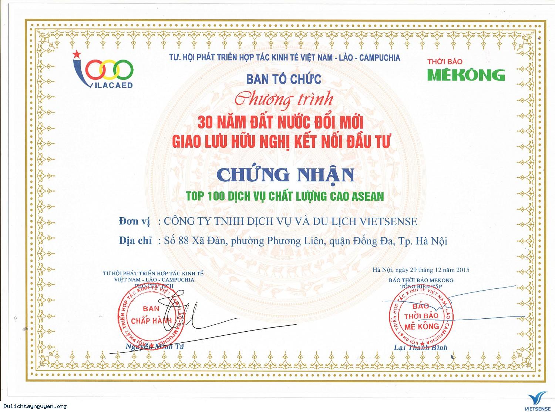 ,VIETSENSE TRAVEL ĐÓN NHẬN VINH DANH TOP 100 SẢN PHẨM - DỊCH VỤ CHẤT LƯỢNG CAO ASEAN